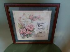 "Homco Home Interiors Picture 13.5 x 13.5"" Roses Flowers Unconditional Love Vgc"