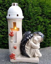 Grablaterne Grablampe Grableuchte Schutzengel Kerze Engel Blume Grablicht Figur