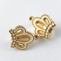 Gold & Weiß Emaille Imperial Krone Form Legierung Anhänger Charme Schmuck 30X