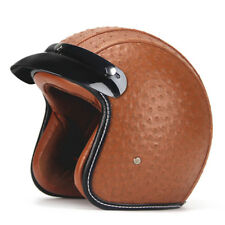 Helmet Motorcycle New Synthetic Leather Vintage Size Large Open  Face Visor Dot