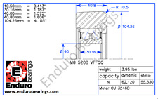 Mast Guide Forklift Bearing ENDURO MG 5208 VFFQQ Yale 580010276 and 58003167
