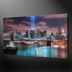 NEW YORK BROOKLYN BRIDGE TWIN TOWERS MEMORIAL CANVAS PRINT PICTURE WALL ART