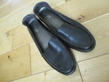 FOOTGLOVE Ladies Dark Brown Soft Leather Low Wedge Slip On Shoes size 4 Wide Fit