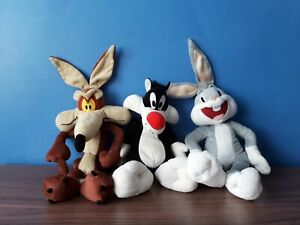 Trio Looney Tunes Wiley / Sylvester / Bugs Bunny  Plush Soft Toys 1990's Boots