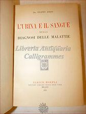 MEDICINA: Filippo Jorio, L'URINA E IL SANGUE nelle Diagnosi di Malattie 1930