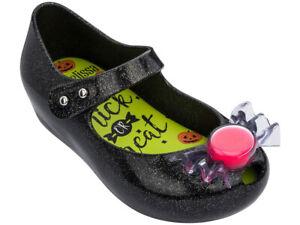 NWT MINI MELISSA Ultragirl Trick Or Treat Sandals Mary Jane Glitter Purple 32738