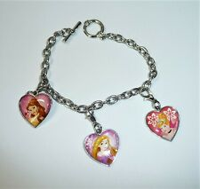 "Disney Princesses  Bracelet with Charms in Silver Tone 7"" Belle Cinderella"