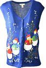 Women's Kim Rogers SNOWMAN Button Party Ugly Christmas Vest Sweater Sz 18 A919
