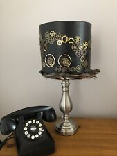 UNIQUE 20CM LAMPSHADE STEAMPUNK GOGGLE/COGS/ INDUSTRIAL/FEATHER TRIMMED