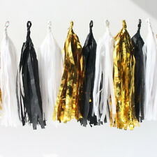TISSUE PAPER GARLAND FOIL GOLD BLACK WHITE 3M PARTY HANGING DECORATION BUNTING