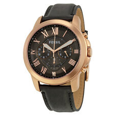 Fossil Grant Grey Dial Chronograph Black Leather Mens Watch FS5085
