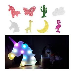 LED Noche Iluminación Unicornio Flamenco Estrella Luna Niños Dormitorio Casa