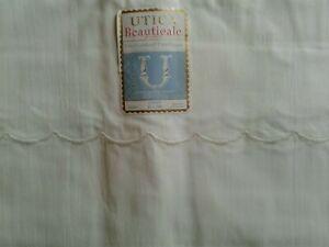Unused Vintage Utica Beauticale 100% Cotton White Full Flat Sheet Scalloped Edge