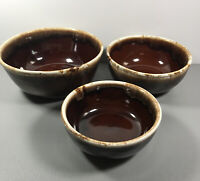 Antique McCOY POTTERY Brown Drip Nesting/MIXING BOWLS: set of 3