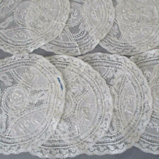 Set 9 Vintage Creamy French NORMANDY LACE Round Doilies * Embroidered FLOWERS