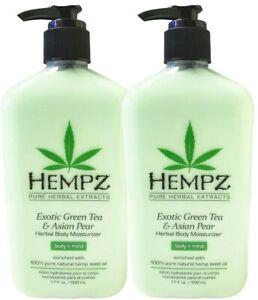 2 Bottles Hempz EXOTIC GREEN TEA and ASIAN PEAR Moisturizer Lotion 17 oz