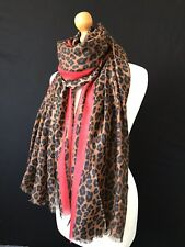 LADIES LARGE  LEOPARD PRINT  ANIMAL PRINT SCARF WRAP WITH RED STRIPE DETAIL