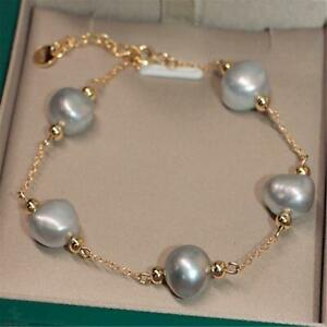 10-11mm Gray Baroque Pearl Bracelet 18k Buckle 7.5 inches round party AAA