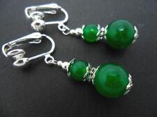 Silver Plated Jade Drop/Dangle Costume Earrings