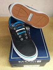 Sperry Mens Halyard Laceless Salt Washed Canvas Sneaker Black Blue New Size  7 eedfd01d475
