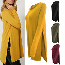 New Women's Long Sleeve Casual Tops T Shirt Double Side Slit Tunic Blouse Jumper