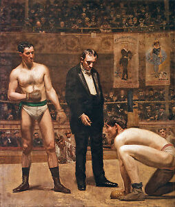 "Taking The Count Boxing Painting Large 12.5"" x 14.7"" Real Canvas Art Print"