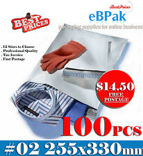 100 Poly Mailer 255*330mm #02 Courier Bag Self Sealing Mailing Satchel - PM02