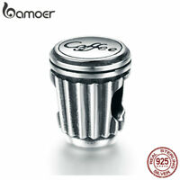 BAMOER Solid S925 Sterling silver Charm Love Coffee cup For bracelet Jewelry