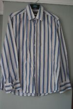 River Island Mens shirt size L reg fit blues/white/beige long sleeve cotton