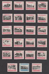 Austria Scenes from World War I, Lot of 23, Pink & Black Ink, MH OG