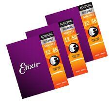 3 x Elixir Nanoweb 11077 Coated Light / Medium Acoustic Guitar Strings  12 - 56