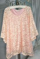 NEW~ Plus Size 2X Blush Pink Peach Sequin Lace Top Dressy Formal Blouse