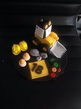 Construction Digger or Dumptruck Helmet Cones & Age Edible Fondant Cake toppers