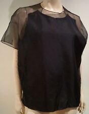 ACNE Black 100% Silk AZADE Organza Panelled Short Sleeve Blouse Top FR40 UK12