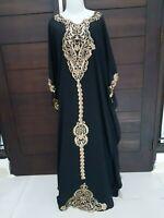 kaftan abaya lace maxi dress black gold plus size maternity bohemian