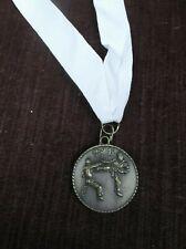 """action karate gold medal white neck drape award 1 1/2"""" diameter"""