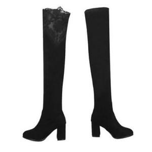 Women Warm Stretch Over The Knee High Boots Round Toe Block Heel Shoes Outdoor D