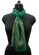 Indian Green Pure Silk Women Long Scarf Hand Painted Paisley Hijab Neck Scarves