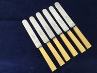 "Antique Vintage J ABRAHAMS LTD OXFORD ST. (LONDON) Faux Bone 8"" Butter Knives"