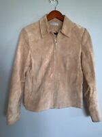 Kate Hill Womens Genuine Suede Leather Jacket Coat Blazer Tan Brown Zip Sz 4