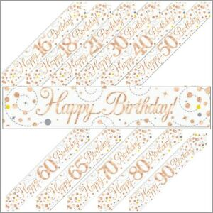 Rose Gold Sparkling Fizz Holographic Foil Birthday Banner & Balloon Decorations