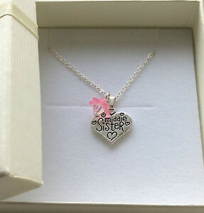 Necklace chain choose your message charm with flower in GIFT BOX