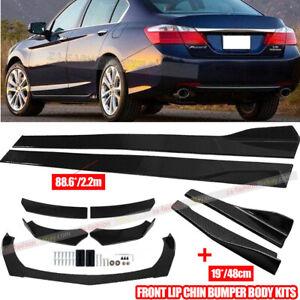 """Carbon Fiber Front Rear Bumper Lip Spoiler+86.6"""" Side Skirt Kit For Honda Civic"""
