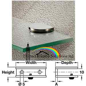 4 X CURVED STAINLESS STEEL GLASS SHELF SUPPORT CLAMP BRACKETS  6-8mm