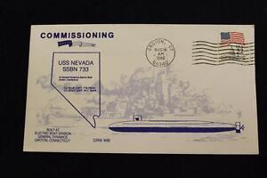 DRW NAVAL COVER #86B COMMISSIONING USS NEVADA (SSBN-733) 1986 MACHINE CANCEL