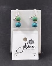 Jilzara Emerald Crystal Earrings Polymer Clay Beads Handcrafted Artisan Jewelry