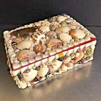 VTG Sea Shell Jewelry Box Trinket Handmade Natural Nautical Decor Wood Red Lined