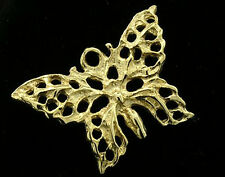 C042 Genuine 9K Solid Yellow Gold Detailed Filigree Butterfly Charm 3D +jumpring