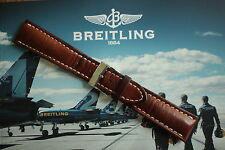 BREITLING 439X 24-20 BROWN SMOOTH CALF TONGUE BUCKLE WATCH BAND WATCHBAND STRAP
