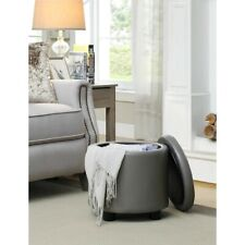 Convenience Concepts Designs4Comfort Round Storage Ottoman, Gray - 163523GY